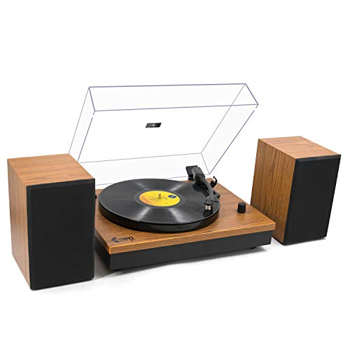 Bluetooth Record Player with Magnetic Cartridge, Belt-Driven Turntable with Powerful External Speakers, 2-Speed Precision Turntable for 33⅓/45 RPM Vinyls, Adjustable Counter Weight,Natural Walnut