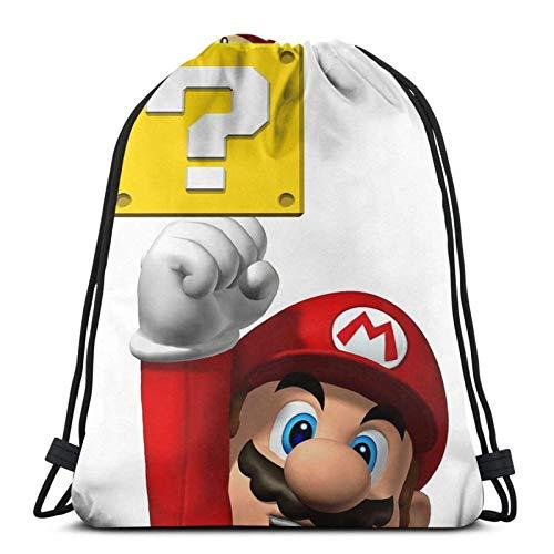 WH-CLA Drawstring Bags Superma-Riobros Anime Mujer Ligero Hombre Bolsos con Cordón Bolsos con Cincha Gimnasio Casual Durable Viaje Mochila con Cordón Estampado Único para Nadar Senderismo