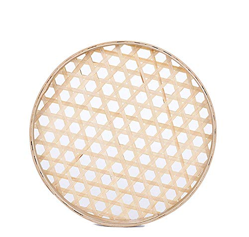 "100% Handwoven Flat Wicker Round Fruit Basket Woven Food Storage Weaved Shallow Tray Organizer Holder Bowl Decorative Rack Display Kids DIY Drawing Board (Hexagon Hollow-Bamboo-White, 18cm/7"")"