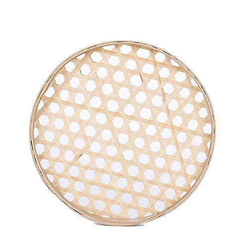 100% Handwoven Flat Wicker Round Fruit Basket Woven Food Storage Weaved Shallow Tray Organizer Holder Bowl Decorative Rack Display Kids DIY Drawing Board (Hexagon Hollow-Bamboo-White, 18cm/7')