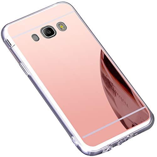 Surakey Cover Compatibile con Samsung Galaxy J5 2016, Effetto Specchio Custodia in Silicone Brillante Colore di Placcatura Mirror Case Antiurto TPU Bumper Ultra Sottile Protettiva Cover,Oro Rosa