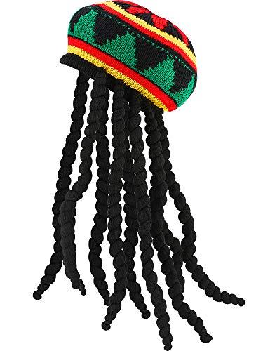 SATINIOR Rasta Hat with Black Dreadlocks Wig Rasta Wig with, 1 Piece,...