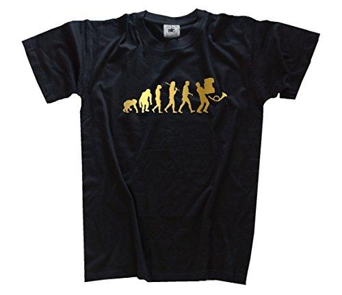 Shirtzshop Gold Edition Paketmann Post Paketdienst Kurierdienst Evolution T-Shirt, Schwarz, L