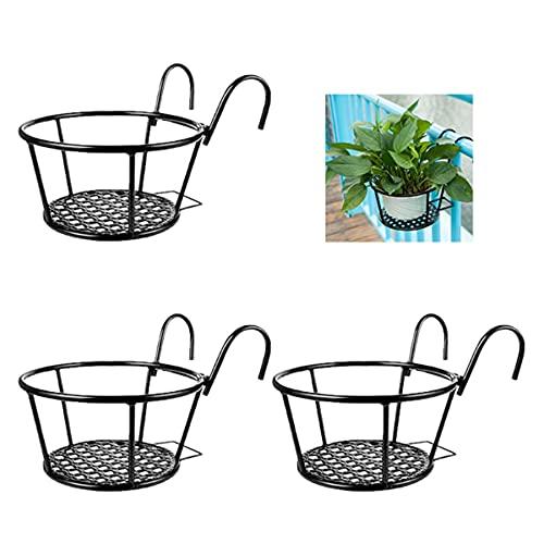 NILICAN - Set 3 pezzi Cesto per fioriera da appendere, in ferro battuto, per la casa, balconi, prodotti in ferro, per piante coltivate in casa, colore: nero