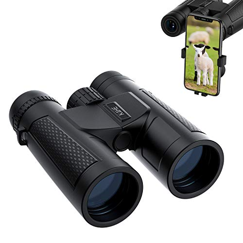 12x42 Binoculars for Adults with Smartphone Photograph Adapter, 18.5mm Large View Eyepiece, BAK4 Roof Prism FMC Lens, Compact Binoculars for Bird Watching Travel Hunting Concerts Sports (1.2 lbs)