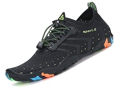 Zapatos de Agua para Buceo Snorkel Surf Piscina Playa Vela Mar Río Aqua Cycling Deportes Acuáticos Calzado de Natación Escarpines para Hombre Mujer Negro, 42 EU