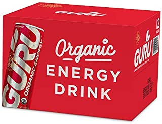 GURU Organic Energy Drink with Green Tea & Guarana, 12 Ounce (Pack of 12), Packaging May Vary