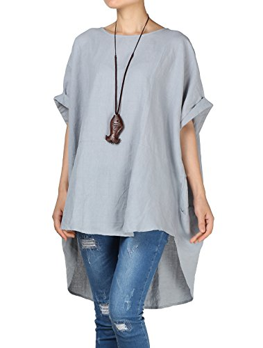 Mallimoda Damen Leinen Tunika Unregelmäßige Saum Bluse Tops Große Größen Tee T-Shirt Blau XL