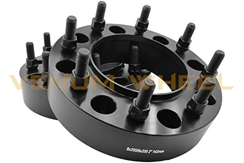 2 Pc 8x200 MM Black Hub Centric Wheel Spacers Adapters W/Lip (Front Wheels Only) Works With 2005-2019 Ford F-350 Dually Only