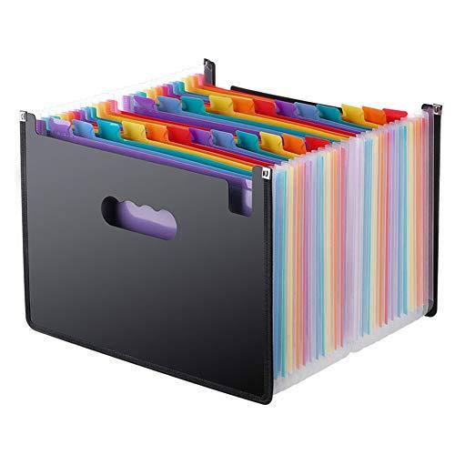 A4 Expanding File Racks, 24 vakken Grote Plastic Regenboog Sorter Uitschuifbare Zelf Staand Accordion Document Bestand Portemonnee Aktetas Documenten Ondersteuning