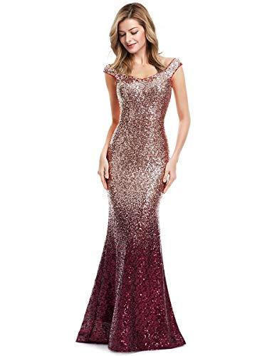 Ever-Pretty Lang Pailletten Elegant Partykleid Cocktailkleid V-Halsausschnitt Abendkleid 36 Rot