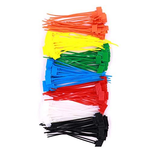 QKFON 250 Stück Nylon-Kabelbinder, selbstschließend, Kabelmarkierungs-Etiketten, Beschriftungsetiketten, für Ethernet-Kabel, Kabelbinder, Power-Markierung, mehrfarbig, 4 x 150 x 3,6 mm