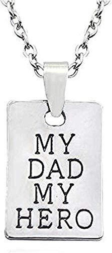 Collar Mujer Collar Hombre Colgante Collar Regalo del Día del Padre Mi Padre Mi Héroe Collar Colgante Cuadrado Aleación Personalidad Colgante Joyería de los hombres Para Mujeres Hombres Regalo Collar
