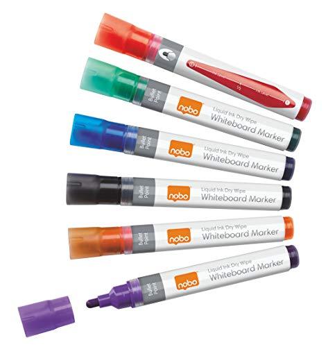 Nobo Liquid Ink Whiteboardmarker-Set, 6 Stück, Feine 3 mm Rundspitze, Mehrfarbig, 1901077