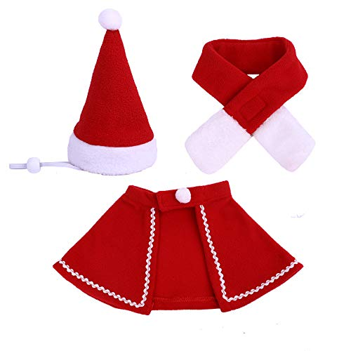 AUPET 3 Pieces Christmas Pet Costume Set Adjustable Dog Santa Hat Christmas Scarf Santa Cloak Christmas Costume Accessory for Puppy Kitten Small Cats Dogs Pets