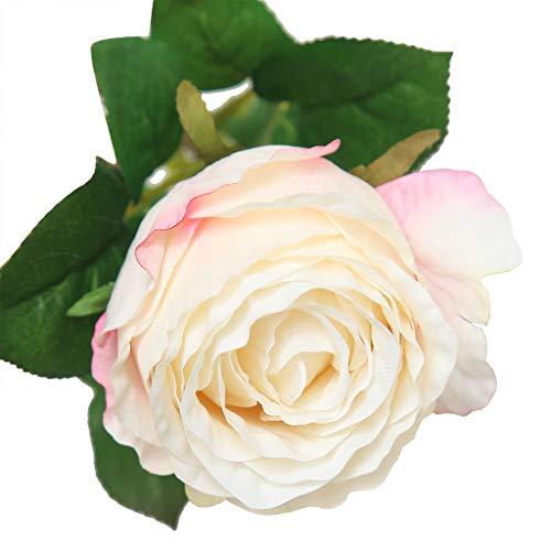 Mamum Fleur de Rose Artificielle Flanelle Rose Fleurs pour La Fête De Mariage Accueil Conception Bouquet Décor (Blanc)