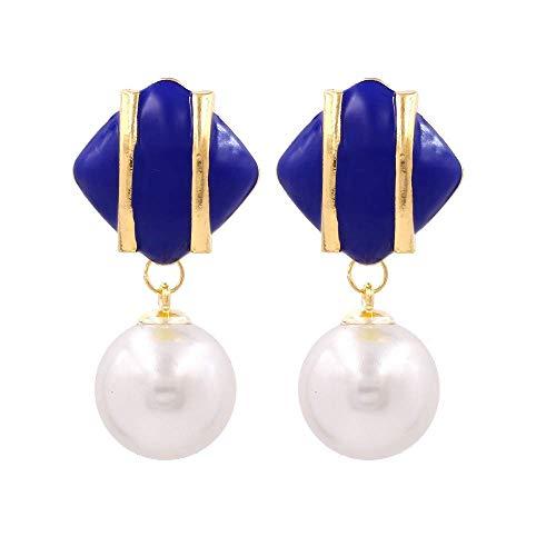 JY Novelty Jewelry-Women Earring Studs Earring Drop Earrings Ear Line,Fashion Pearl Earrings Personalized Metal Drop Earrings Exaggerated Earrings Blue, Suitable for Everyday Wear Dangle