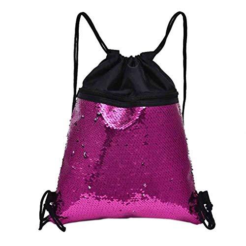 Reiserucksack Damen Herren, VECOLE Backpack Beambag Strandtasche Outdoor-Fitness-Tasche ziehen Pailletten Umhängetasche Kordelzug(Pink)