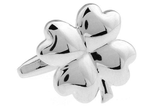 MRCUFF 4 Four Leaf Clover Shamrock Irish Ireland Pair Cufflinks in a Presentation Gift Box & Polishing Cloth