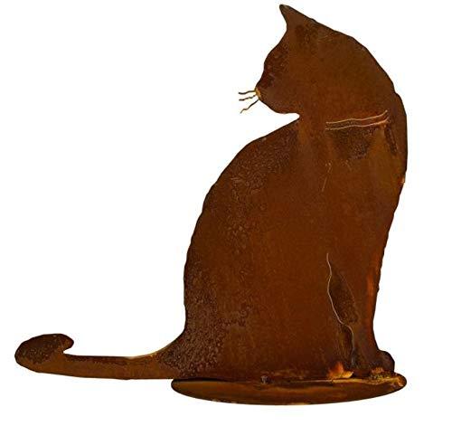 Edelrost Katze Joschi sitzend auf Bodenplatte 30x30cm Gartendeko Rost Tierfigur