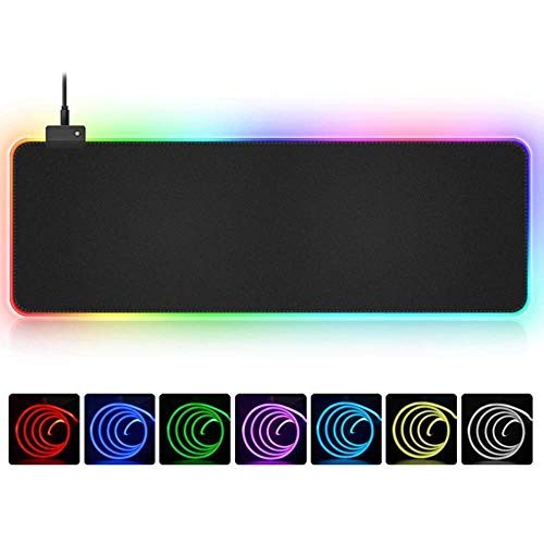 1 stks RGB Zachte Grote Gaming Muismat Oversize Glowing Led Uitgebreide Mousepad Antislip Rubber Base Computer Toetsenbord Mat, 400x450x4mm