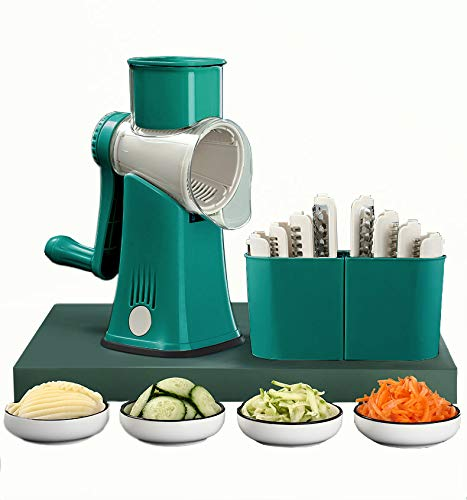 Carniway Multi-Functional Vegetable Spiralizer Veggie Stainless Steel Blade Slicer Cheese Grater 5 In 1 Rotary Graters Rotary Grater With Handle For Fruit Vegetables Nuts Potato Kitchen