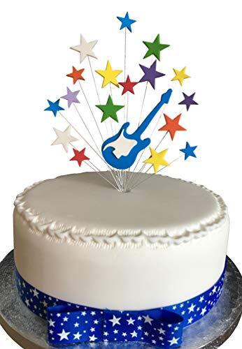 Karen\'s Cake Toppers Decoración para Tarta de Guitarra eléctrica Azul con Estrellas arcoíris y 1 Metro de Cinta de grogrén con Lazo Adjunto de 25 mm, Color Azul y Blanco