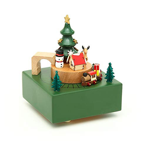 MISSYOUNG Wooden Music Box Wood Carved Mechanism Musical Box Wind Up Music Box with Moving Train DIY Wooden Music Box Best Gift for Kids, Friends Christmas Singing Music Gift Box (Christmas Them)