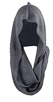 Bellady Winter Soft Pullover Knit Infinity Scarf Beanie Hoodie Scarf Gray One Size