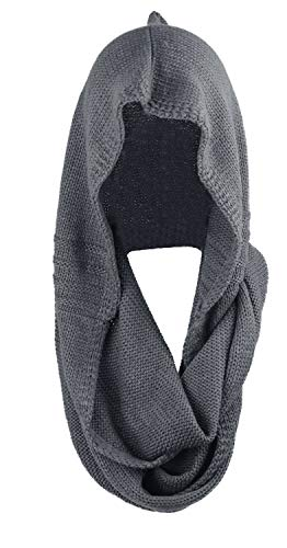 Bellady Winter Soft Pullover Knit Infinity Scarf Beanie Hoodie Scarf, Gray, One Size