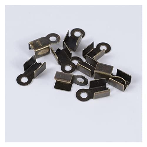 BOSAIYA PJ Collar de Pulsera 200pcs Bricolaje Suministros Cable Clip Fin Caps Cuerda de Cuero Clip Tip Doble Conectores de engarce para la fabricación de Joyas TL808 (Color : Bronze, Size : 11x4mm)