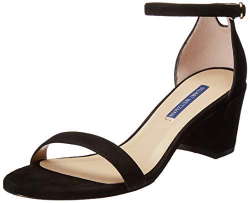 Stuart Weitzman Women's Simple Sandal, Black Suede, 7 Medium US