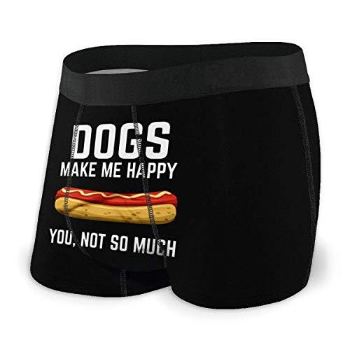 Herren Unterwäsche Boxershorts Dogs Make Me Happy Hot Dogs You Not So Much Men's Comfort Cool Sport Boxer Brief Comfort Flex Waistband Underwear