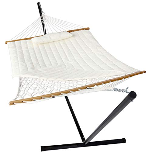 VEIKOU 2 Person Portable Hammock with Stand and Pillow, Double Freestanding Quilted 12ft Hammock with Frame and Spreader Bars, White