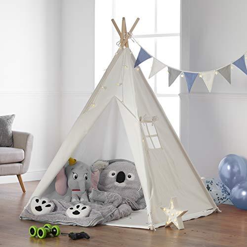 Haus Projekt Tipi Zelt Set Kinder mit Zubehör, Lichterkette, Wimpelkette, Aufbewahrungstasche & Bodenmatte – Kinderzimmer Spielzelt 100% Baumwoll, Teepee für drinnen / draußen (160cm hoch)