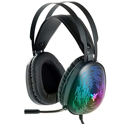 Itek – Cuffie Gaming H420 - Cuffie Gaming con Microfono Flessibile. Cuffie da gioco con Controllo del volume, cancellazione rumore esterno, colori LED. Adatti per PC e console