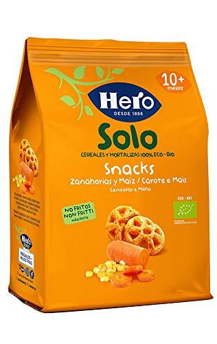 Hero Solo Snack Carota e Mais, 100 % Biologici, Senza Glutine, Non Fritti, dai 10 Mesi in su, Cartone da 6 Confezioni x 50 gr