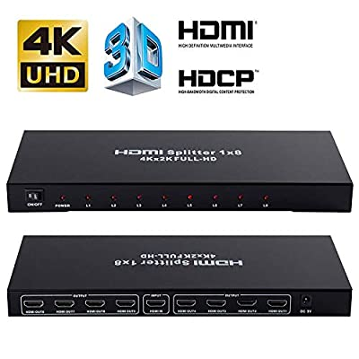 4K 1x8 HDMI Splitter, NEWCARE One in Eight Out Powered 8way HDMI Splitter Audio Video Distributor Amplifier with Charger, Support Full HD 3D & 4K x 2K