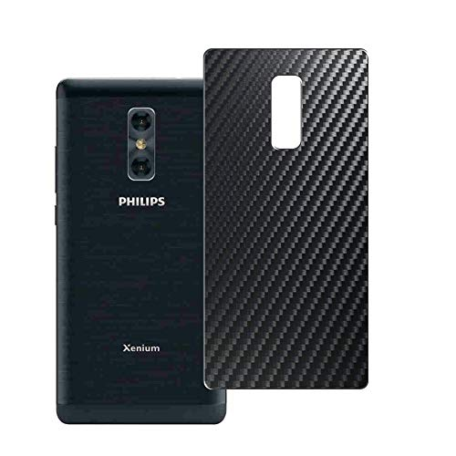 VacFun 2 Piezas Protector de pantalla Posterior, compatible con Philips Xenium X598, Película de Trasera de Fibra de carbono negra