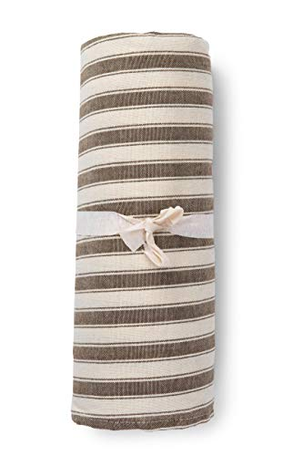 HomeLife - Funda para sofá a rayas fabricada en Italia | Sábana cubretodo multiusos de algodón | Granfoulard Colcha para cama de matrimonio [260 x 280] Tela decorativa marrón de 2 plazas