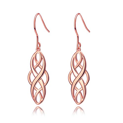 Graduation Gifts Silver Rose Gold Celtic Knot Dangle Earrings Good Luck Irish Vintage Celtics Dangling Earrings Jewelry Dangles (Rose Gold)