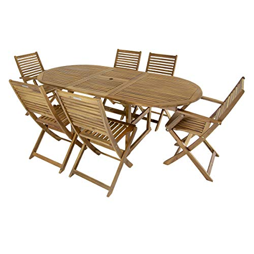 Charles Bentley FSC Acacia Hardwood Furniture Set with Extendable Table & 6 Chai