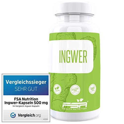 Ingwer 90 Kapseln, 500 mg pro Kapsel, Vergleichssieger 2019*, Vegan - Made in Germany - FSA Nutrition