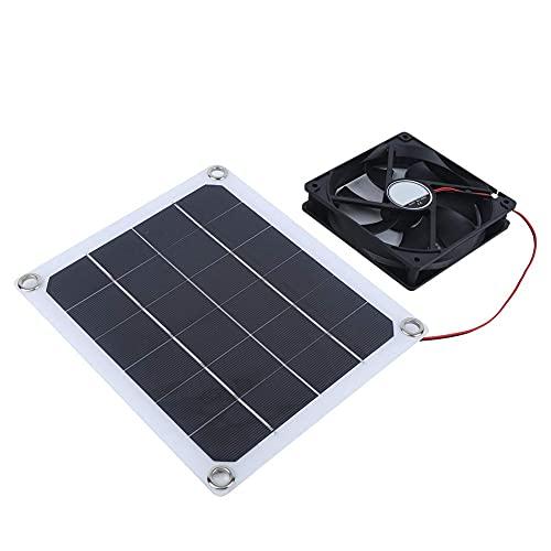 Panel solar de 10 W, extractor solar ligero, duradero de 8.7 x 7.5 in, fácil de instalar, sala de mascotas ventilada con ventilador para carga de emergencia al aire libre
