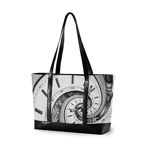 RELEESSS - Bolso de mano para ordenador portátil, diseño de reloj y espiral, para mujeres y niñas