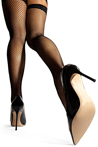 sofsy Womens Fishnet Thigh-High Stockings - Women Fish Net Lingerie Pantyhose Socks with Lace Top [Made In Italy] - Black - XS / S