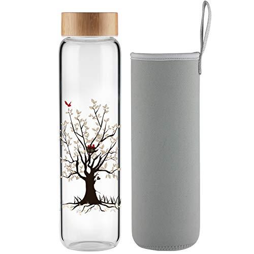 Ferexer Botella de Agua de Cristal Botella de Vidrio 1 Litro