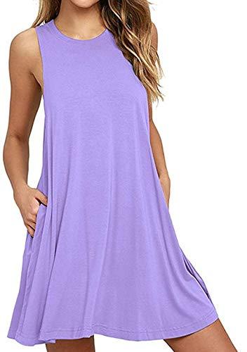OMZIN Mujer Ocio Vestido Relajado Mini Vestidos básicos de algodón Vestido Informal Púrpura Claro L