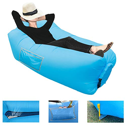 Inflatable Lounger Portable Hammock Air Sofa Bed - Waterproof & Anti-Air Leaking Pouch Couch with Pillow Headrest Lazy Chair for Outdoor Camping, Traveling, Festivals, Parties, Picnics, Beach (Blue)