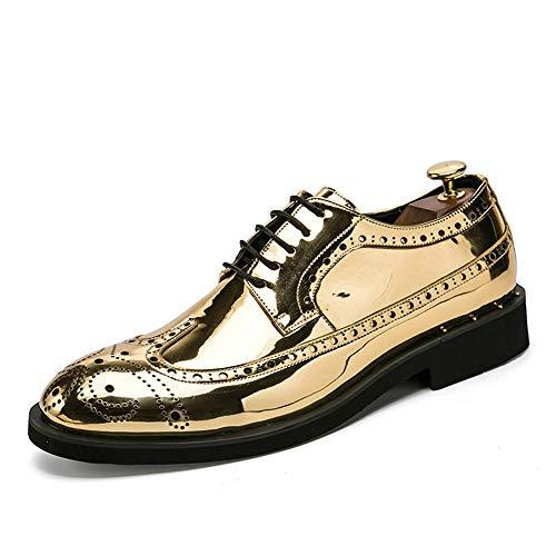 Zhulongjin Herren Business Oxfords Brogue Schuhe for Herren Leichtes Schnürkleid Slipper Weiche Mikrofaser-Lackleder-Laufsohle Blockabsatz Mode Verschleißfest (Farbe : Gold, Größe : 46 EU)